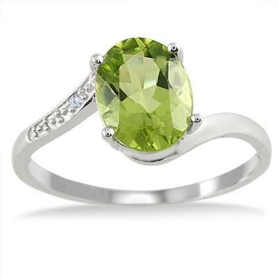 1.75 Carat Oval Peridot and Diamond Ring in .925 Sterling Silver