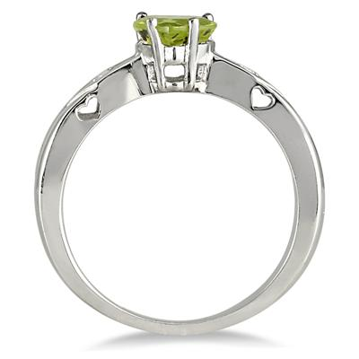 6mm Heart Shape Peridot and Diamond Ring in .925 Sterling Sterling