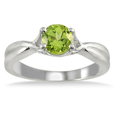 1 Carat Peridot Solitaire Ring in .925 Sterling Silver