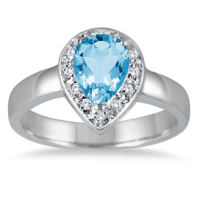 1.40 Carat Blue Topaz and Diamond Ring in .925 Sterling Silver