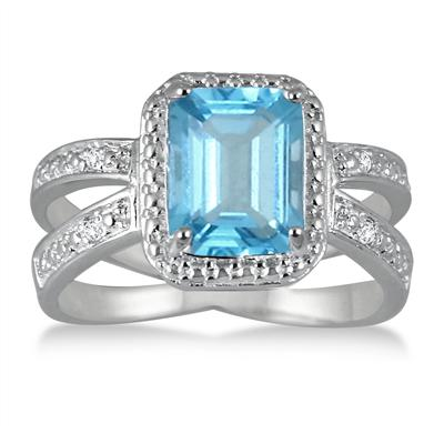 2.50 Carat Emerald Cut Blue Topaz and Diamond Ring in .925 Sterling Silver