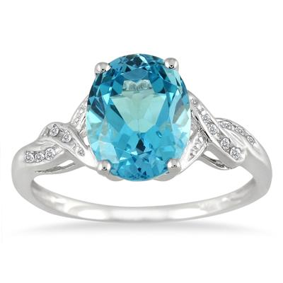 2.30 Carat Oval Blue Topaz and Diamond Ring in 10K White Gold