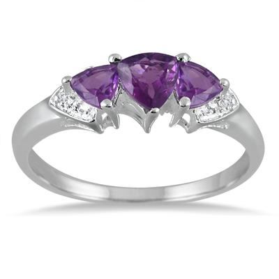 Amethyst and Diamond Trilliion Ring in .925 Sterling Silver