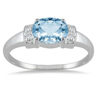 1.60 Carat Blue Topaz and Diamond Ring in .925 Sterling Silver