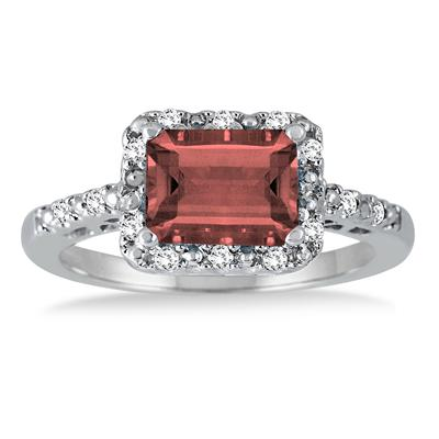 2 Carat Emerald Cut Garnet and Diamond Ring in .925 Sterling Silver