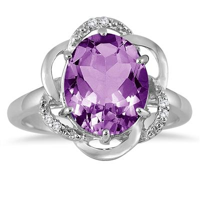 5.25 Carat Oval Amethyst and Diamond Ring in .925 Sterling Silver