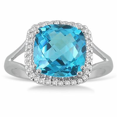 5 1/4 Carat Cushion Cut Blue Topaz and Diamond Ring in  14k White Gold
