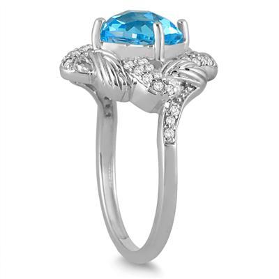 2.65 Carat Cushion Cut Blue Topaz and Genuine Diamond Ring in 10K White Gold