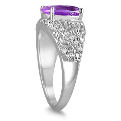 2.40 Carat Oval Amethyst and Diamond Ring in 10K White Gold