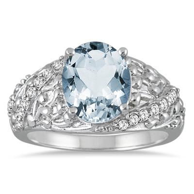 2 1/4 Carat Oval Aquamarine and Diamond Ring in 10K White Gold