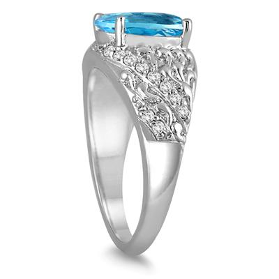 3 1/2 Carat Oval Blue Topaz and Diamond Ring in 10K White Gold
