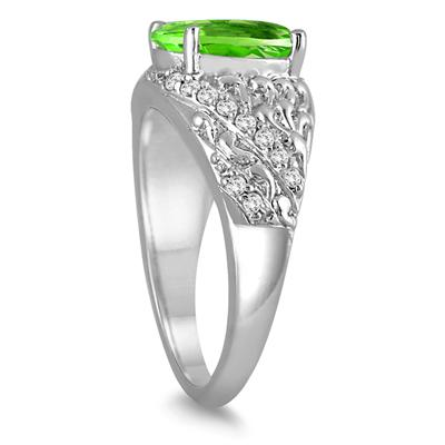 2 1/2 Carat Oval Peridot and Diamond Ring in 10K White Gold