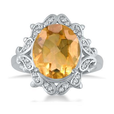 5 Carat Citrine and Diamond Ring in 10K White Gold