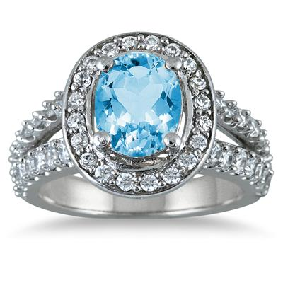 2 Carat TW Oval Blue Topaz and Diamond Ring in 14K White Gold