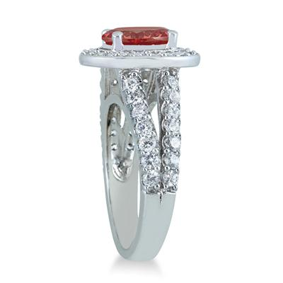 2 Carat TW Oval Garnet and Diamond Ring in 14K White Gold