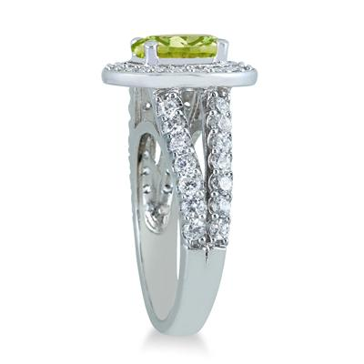 2 Carat TW Oval Peridot and Diamond Ring in 14K White Gold