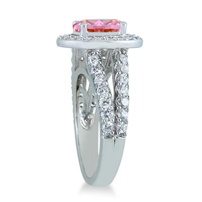 2 Carat TW Oval Pink Topaz and Diamond Ring in 14K White Gold