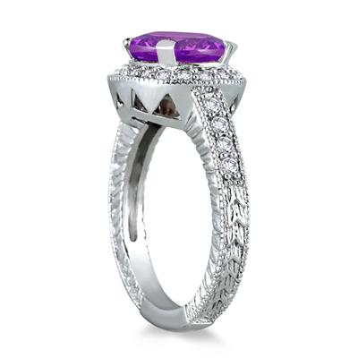 3 Carat Amethyst and Diamond Ring in 10K White Gold