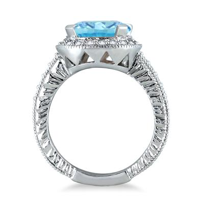 3 Carat Blue Topaz and Diamond Ring in 10K White Gold