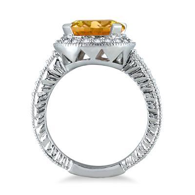 3 Carat Citrine and Diamond Ring in 10K White Gold
