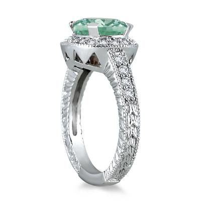 3 Carat Green Amethyst and Diamond Ring in 10K White Gold