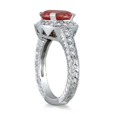 3 Carat Garnet and Diamond Ring in 10K White Gold