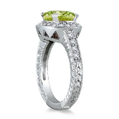 3 Carat Peridot and Diamond Ring in 10K White Gold