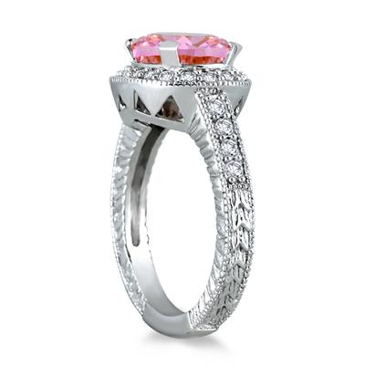 3 Carat Pink Topaz and Diamond Ring in 10K White Gold