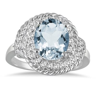 3.00 Carat Aquamarine and Diamond Ring in 10K White Gold