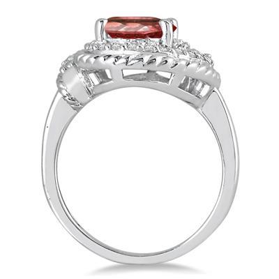 3.00 Carat Garnet and Diamond Ring in 10K White Gold