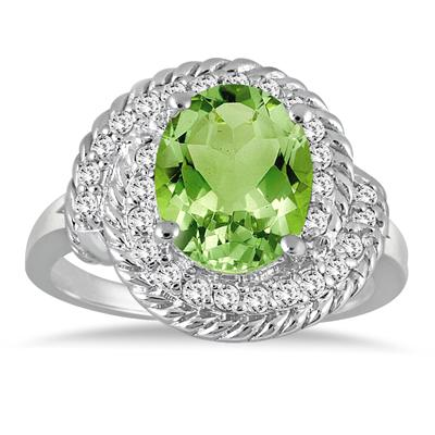 3.00 Carat Peridot and Diamond Ring in 10K White Gold