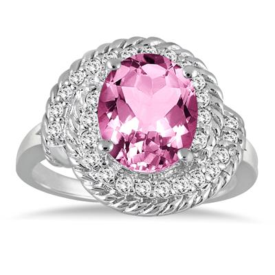 3.00 Carat Pink Topaz and Diamond Ring in 10K White Gold