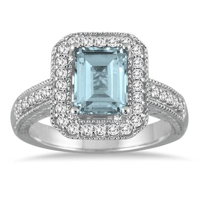 1 3/4 Carat Emerald Cut Aquamarine and Diamond Ring in 14k White Gold