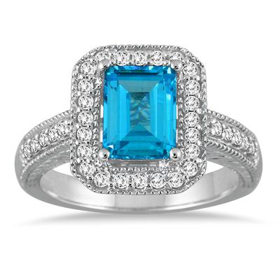 1 3/4 Carat Emerald Cut Blue Topaz and Diamond Ring in 14k White Gold