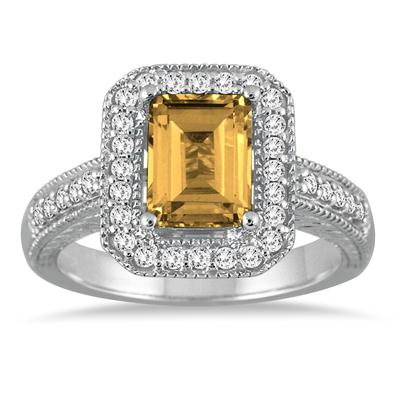 1 3/4 Carat Emerald Cut  Citrine and Diamond Ring in 14k White Gold