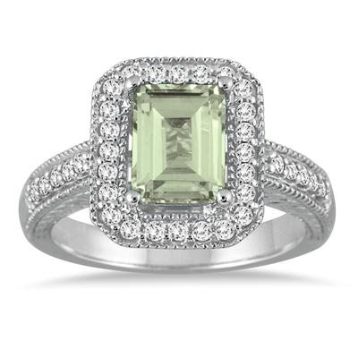 1 3/4 Carat Emerald Cut Green Amethyst  and Diamond Ring in 14k White Gold
