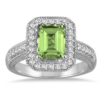 1 3/4 Carat Emerald Cut Peridot and Diamond Ring in 14k White Gold