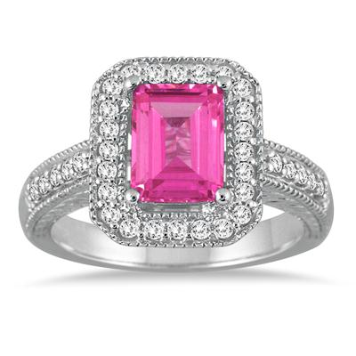 1 3/4 Carat Emerald Cut Pink Topaz and Diamond Ring in 14k White Gold
