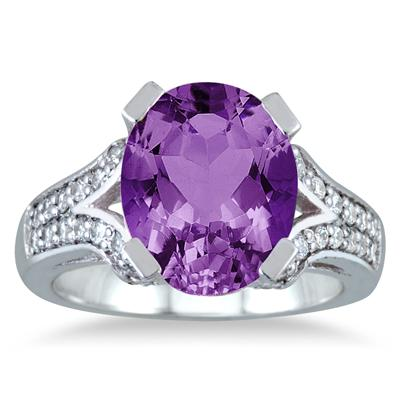 5 Carat Amethyst and Diamond Ring in 10K White Gold