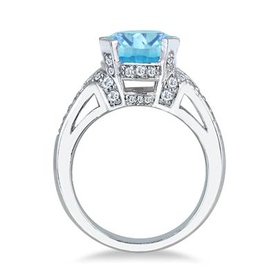 5 Carat Blue Topaz and Diamond Ring in 10K White Gold
