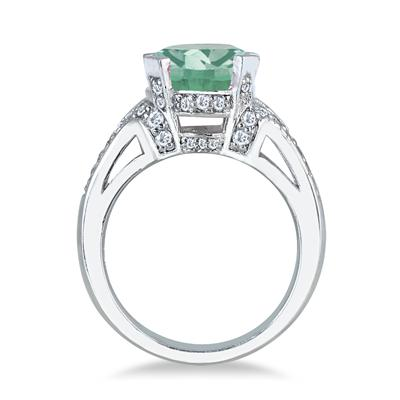 5 Carat Green Amethyst and Diamond Ring in 10K White Gold
