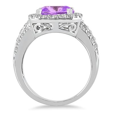 4 Carat TW Cushion Cut Amethyst and Diamond Ring in 14K White Gold