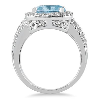 4 Carat TW Cushion Cut Aquamarine and Diamond Ring in 14K White Gold