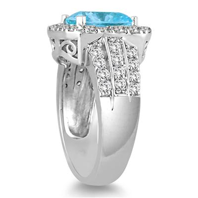 4 Carat TW Cushion Cut Blue Topaz and Diamond Ring in 14K White Gold