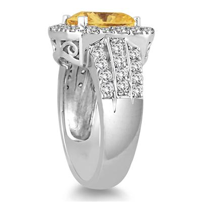 4 Carat TW Cushion Cut Citrine and Diamond Ring in 14K White Gold