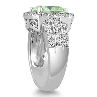 4 Carat TW Cushion Cut Green Amethyst and Diamond Ring in 14K White Gold