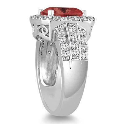 4 Carat TW Cushion Cut  Garnet and Diamond Ring in 14K White Gold