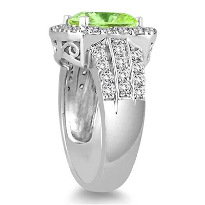 4 Carat TW Cushion Cut Peridot and Diamond Ring in 14K White Gold