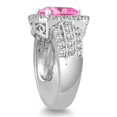 4 Carat TW Cushion Cut Pink Topaz and Diamond Ring in 14K White Gold