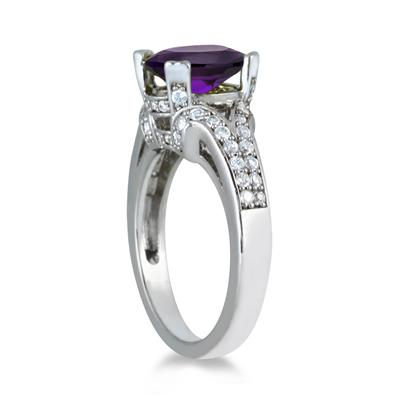 3 Carat Oval Amethyst and Diamond Ring in 10K White Gold